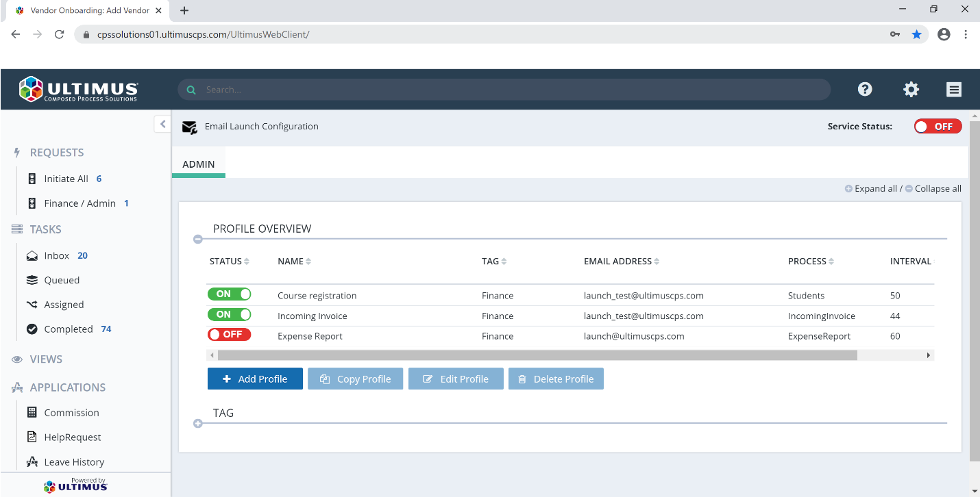 Automated Email Process Launch configurator