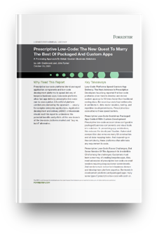 Prescriptive Low-Code: The New Quest To Marry the Best of Packaged And Custom Apps