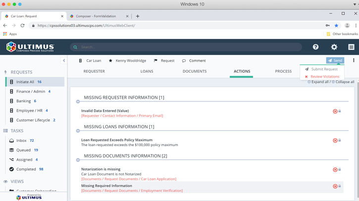Ultimus built-in validations, error checking, and end user help