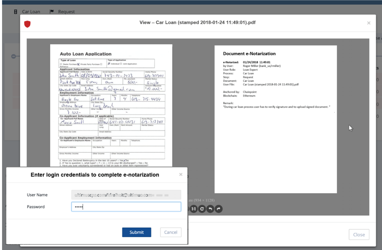User enters login credentials to e-notarize a document and relevant information is appended.
