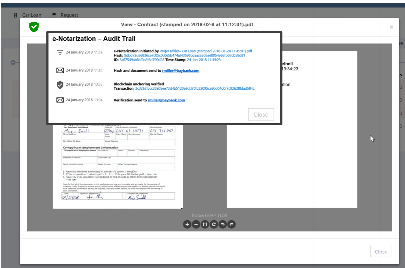 Anchored document and e-notarization audit trail view.